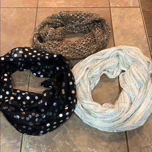 Bundle lot 3 infinity scarfs